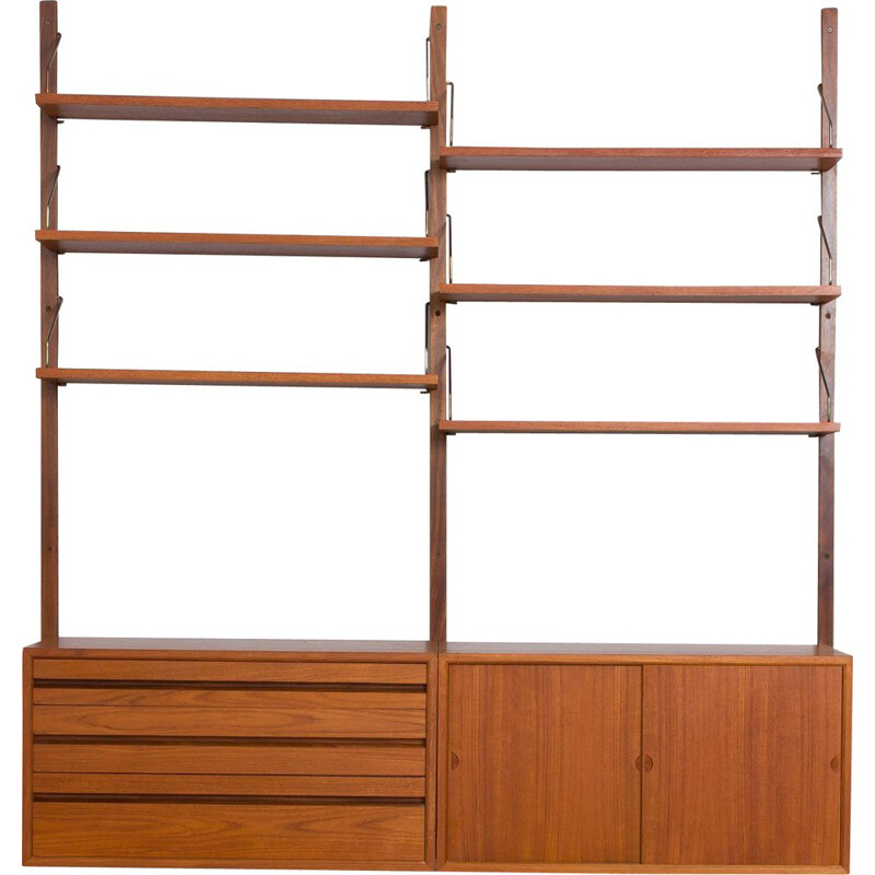 Vintage teak wall unit with 2 cabinets and 6 shelves by Poul Cadovius, 1960
