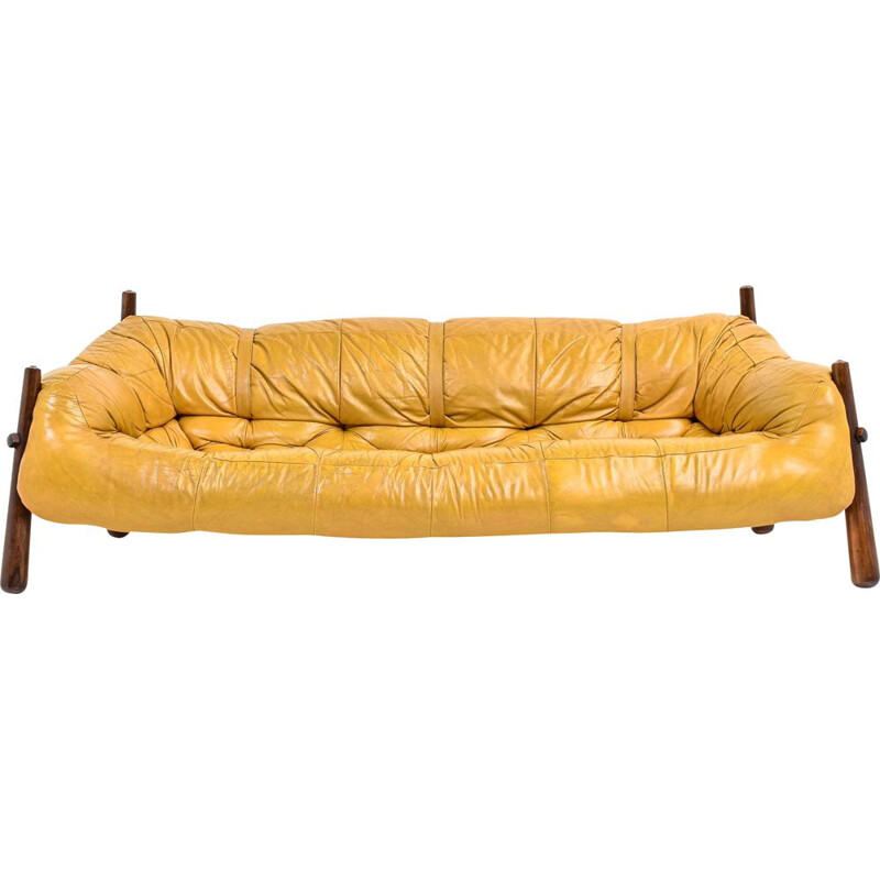 Vintage MP-81 mustard leather sofa by Percival Lafer