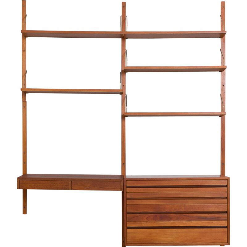 Vintage teak wall unit with desk and dresser by Cadovius, 1960