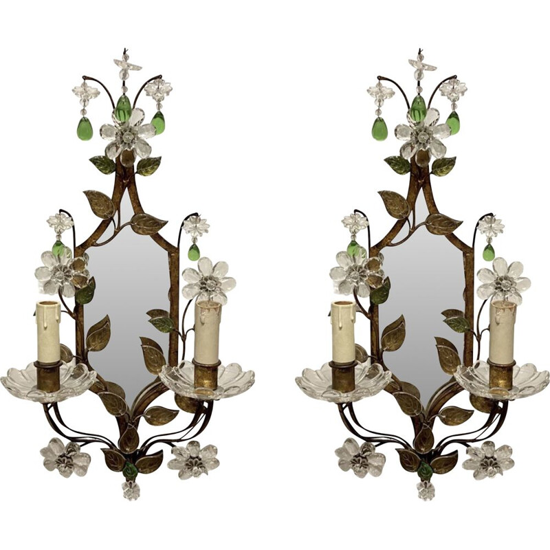 Pair of vintage Murano glass sconces with mirror, 1950