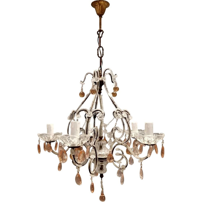 Pink crystal beaded vintage chandelier with Murano glass drops, 1940s