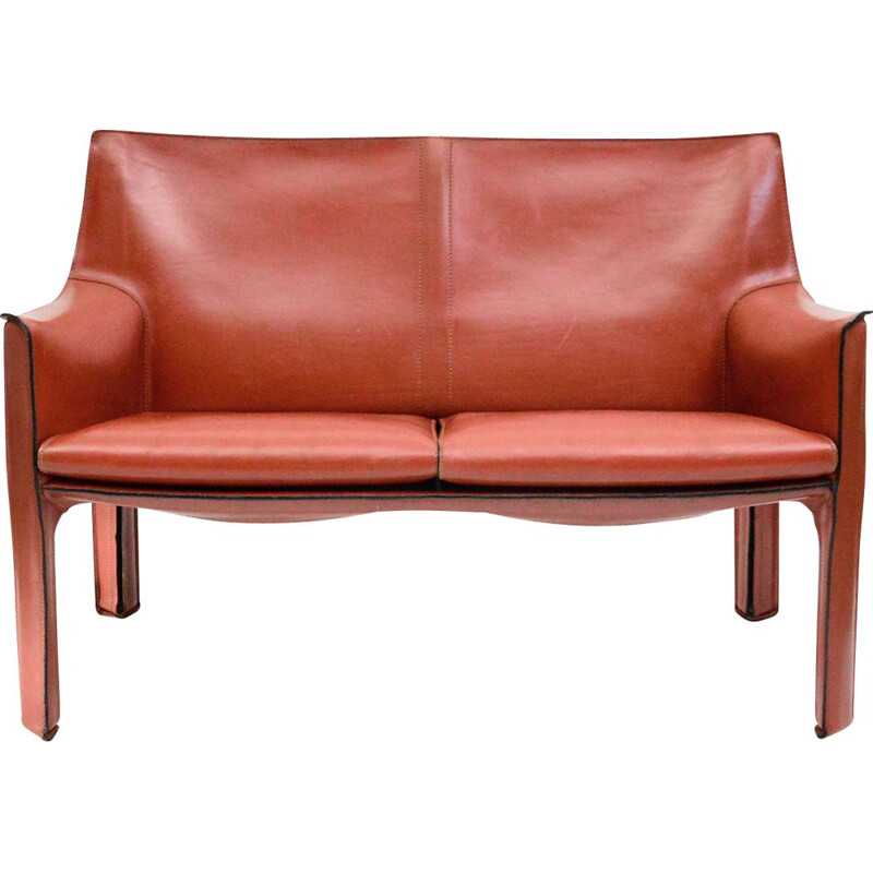 Cab 414 two seater leather vintage sofa by Mario Bellini for Cassina, 1977
