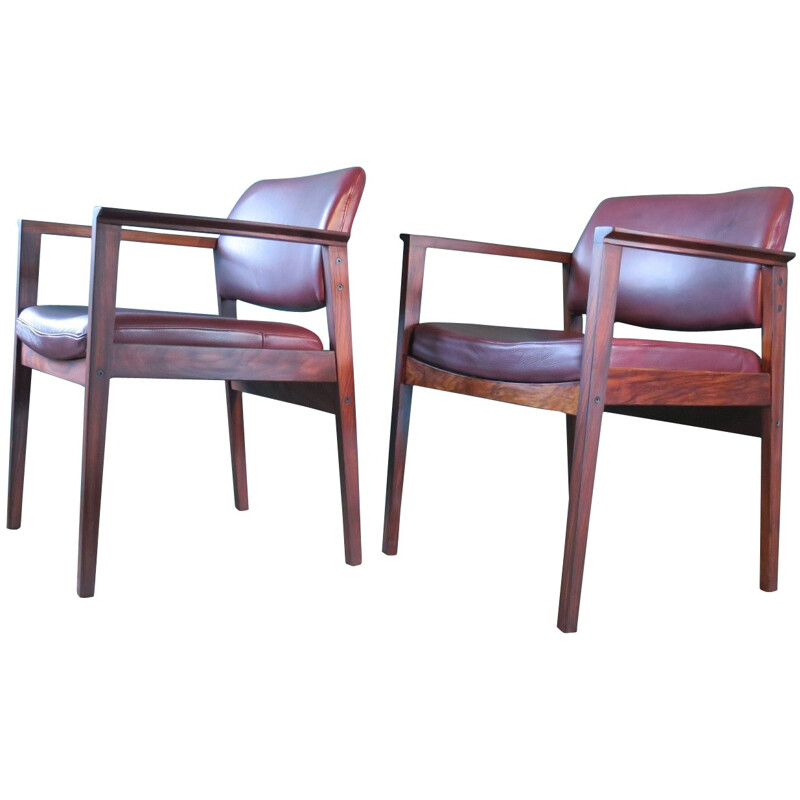 Pair of Rosewood and leather dining chairs - 1960s