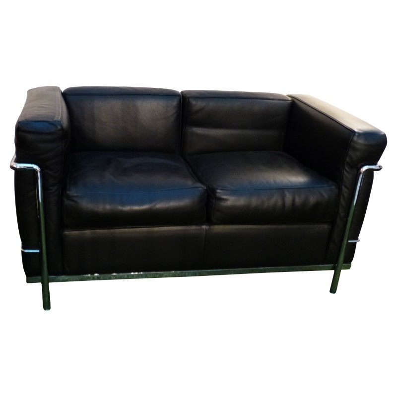 vintage lc2 2 seater sofa le corbusier perriand and. Black Bedroom Furniture Sets. Home Design Ideas