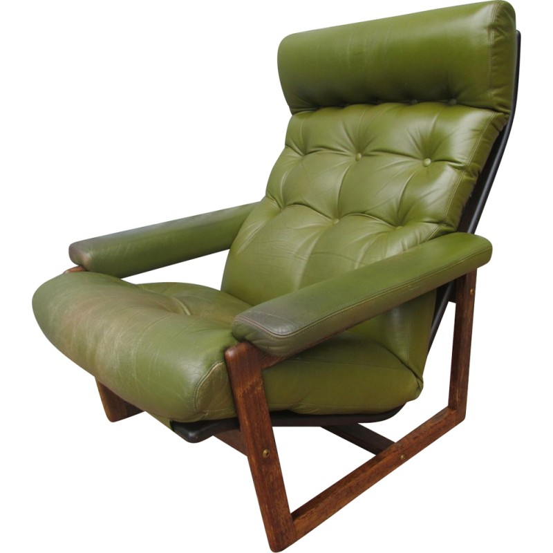 Spectrum wengé and green leather armchair - 1960s