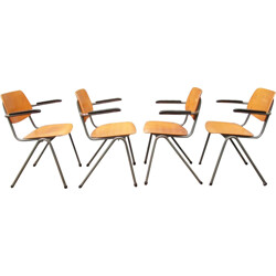 Set of 4 school chairs with Bakelite Armrests - 1960s