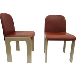 Pair of leather and lacquered wood chairs, Tobia SCARPA - 1970s