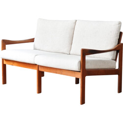 2 seater sofa in teak with woollen fabric, Illum WIKKELSO - 1960s