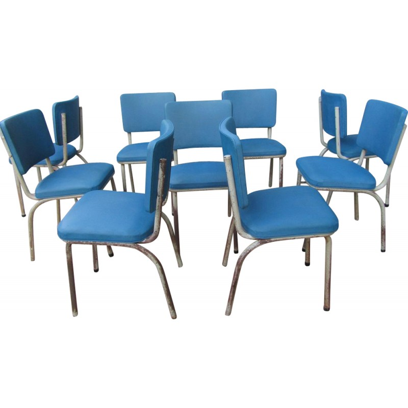 Set of 9 Tubax industrial blue chairs - 1950s
