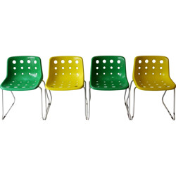 "Set of 4 Hille ""Polo"" chairs in polypropylene, Robin DAY - 1975"