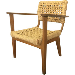 Vibo bridge armchair in rope and wood, AUDOUX & MINET - 1950s