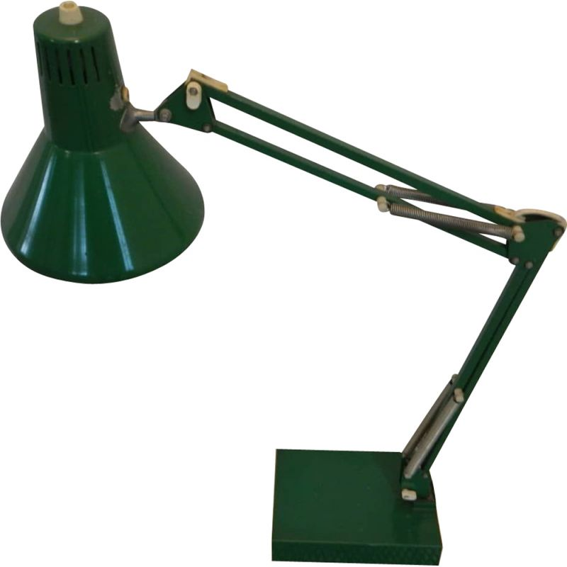 Mid century green iron office lamp with square pedestal, 1970s