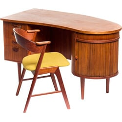 "Feldballes Møbelfabrik ""Kidney"" desk in teak with matching chair, Kai KRISTIANSEN - 1950s"