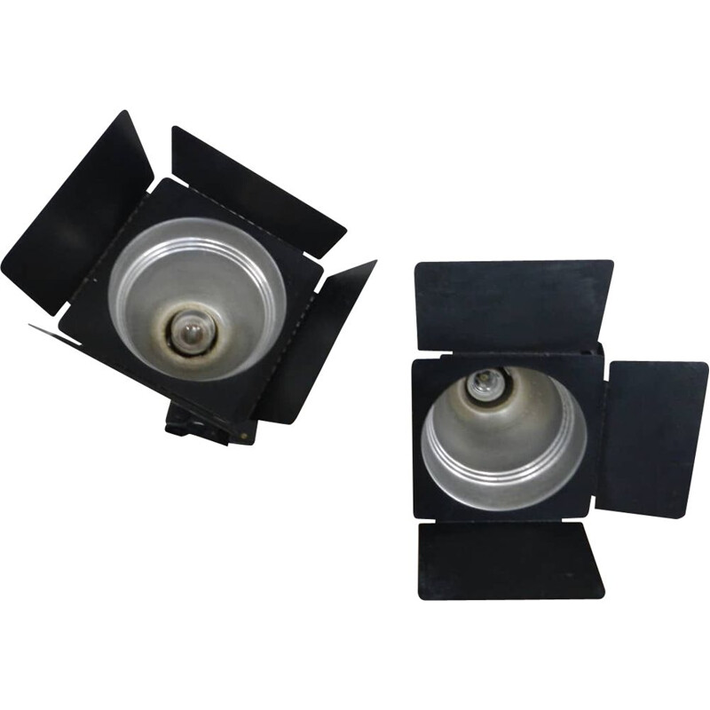 Pair of vintage aluminum spotlights with clamp by SIDE S.p.A.