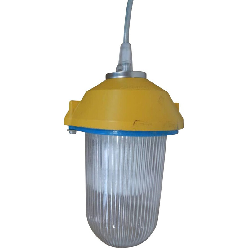 Vintage lamp in yellow metal and striped glass