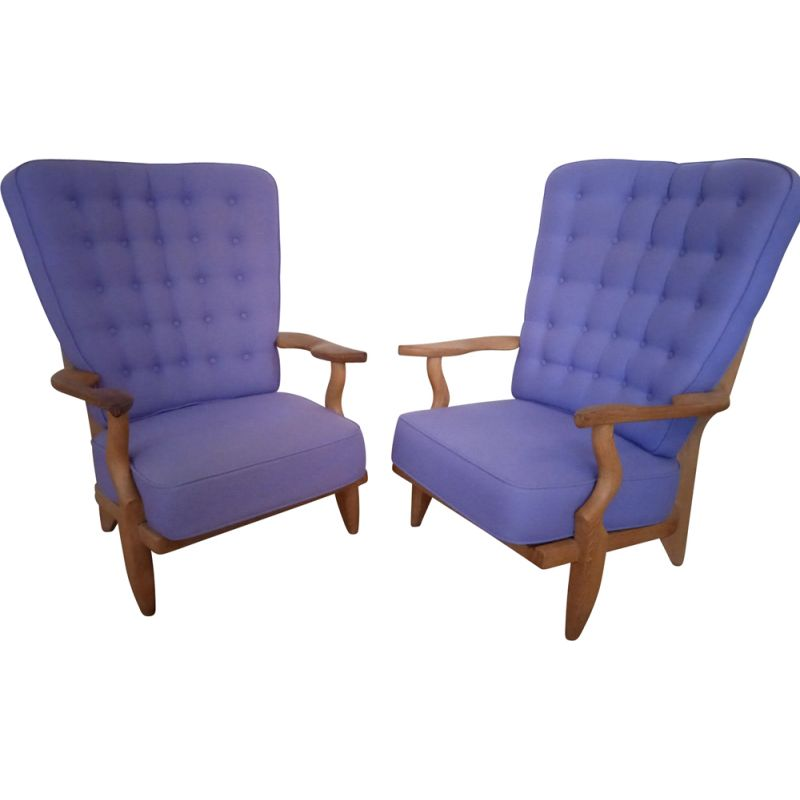 """Pair of vintage """"Grand Repos"""" oakwood and wool armchairs by Guillerme & Chambron"""