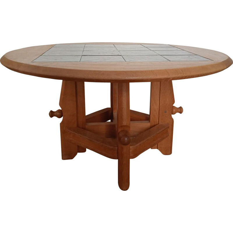 """Vintage """"Ladislas"""" oakwood and ceramic coffee table by Guillerme & Chambron, France 1950"""