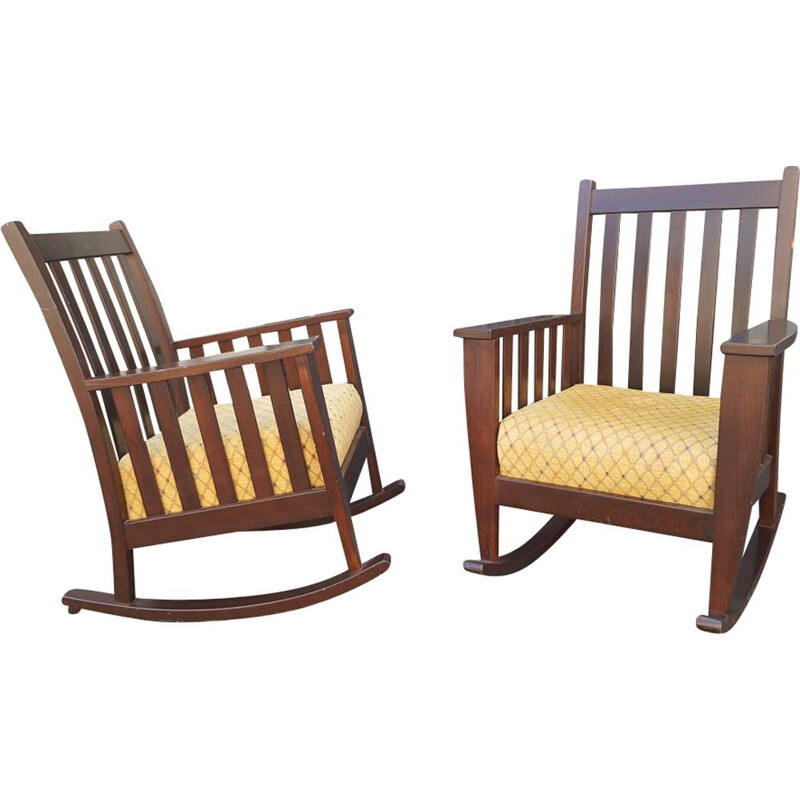 Pair of vintage American rocking chairs, 1980s