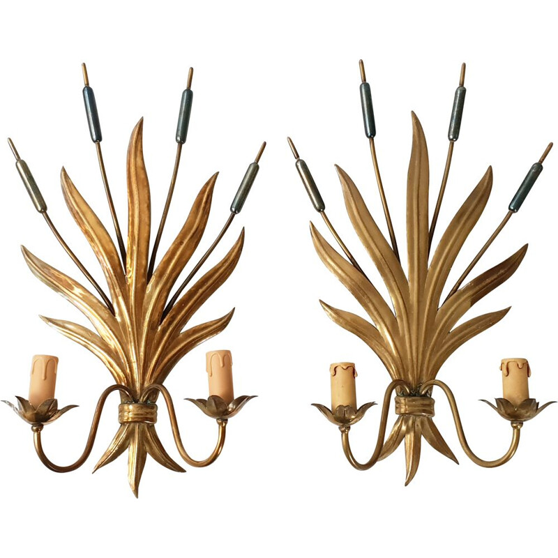 Pair of vintage reed wall lamps, 1970s