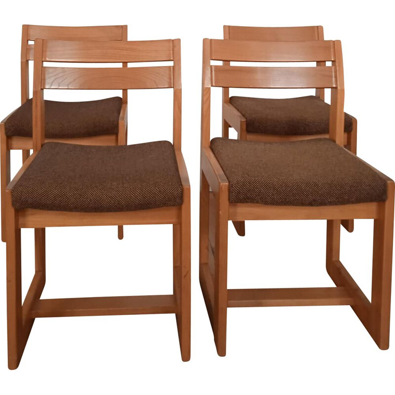 Set of 4 vintage elmwood and fabric chairs from Maison Regain, 1983s