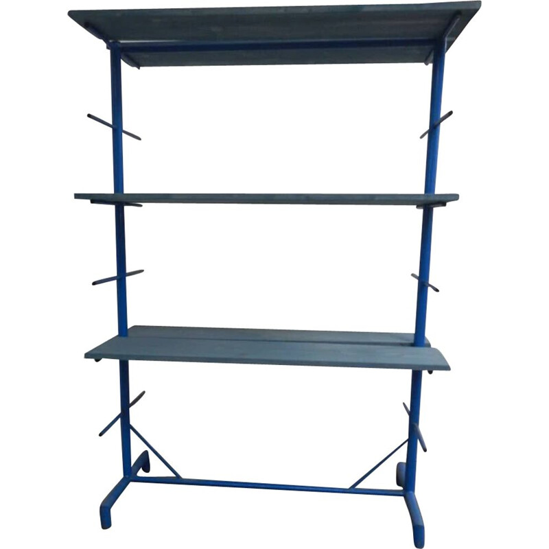 Vintage exhibitor for potters in blue colored iron with 6 shelves