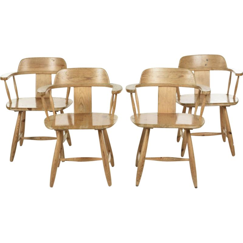 Set of 4 vintage solid pine armchairs by Asko Finland, 1960s