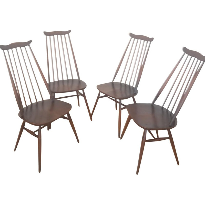 Set of 4 vintage Goldsmith elmwood chairs by Ercol, 1960s