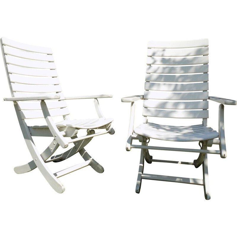 Pair of vintage wooden garden chairs for Herlag