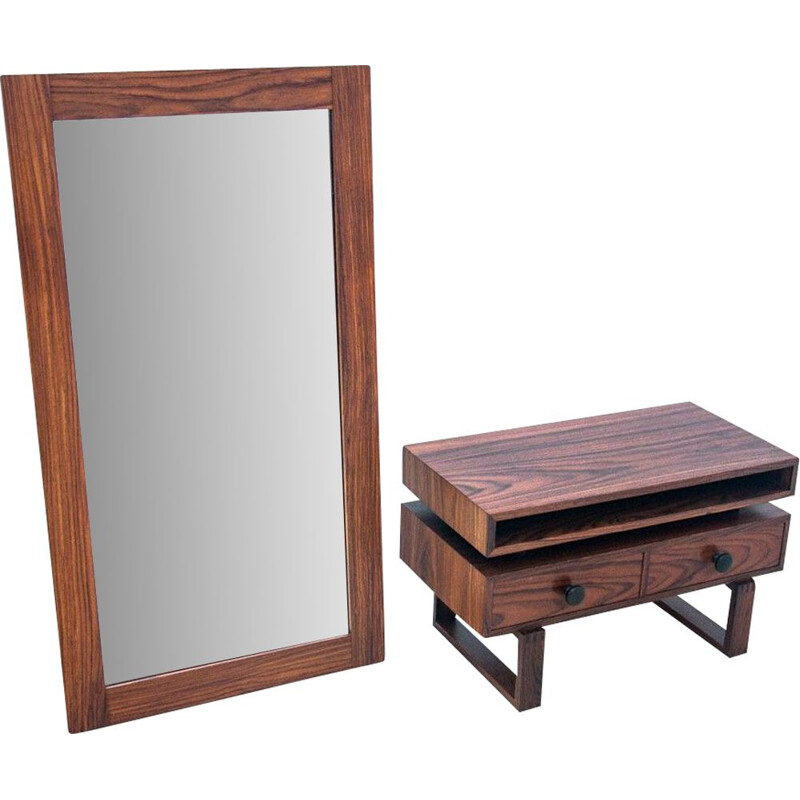 Vintage danish chest of drawers and mirror set, 1960