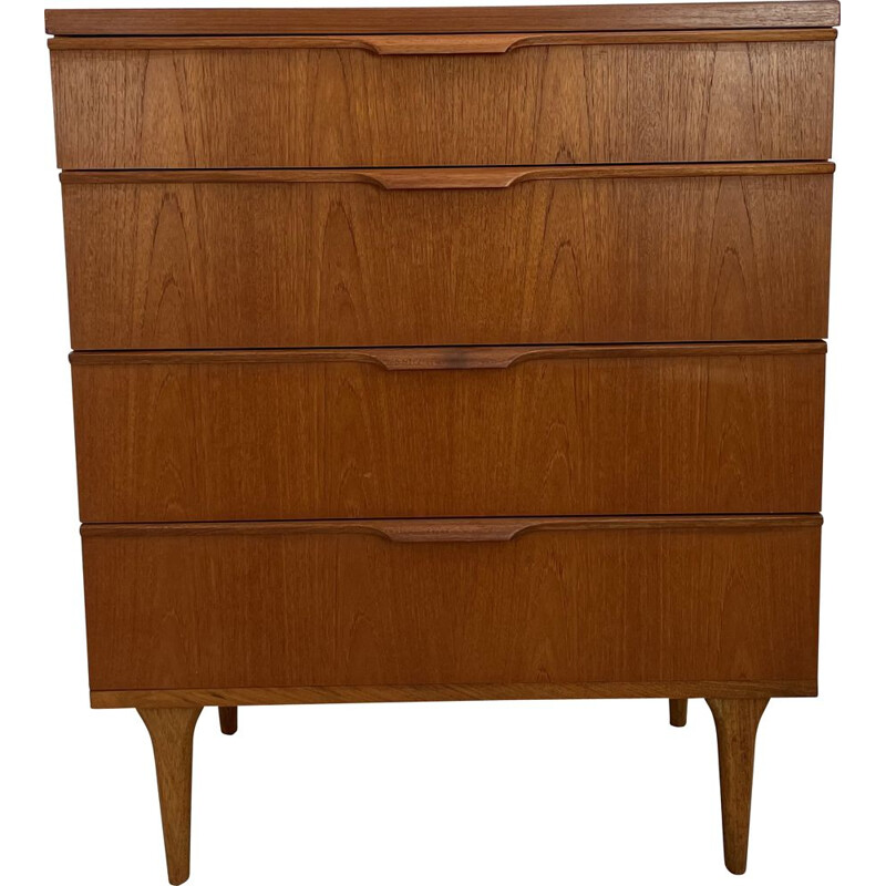 Vintage teak chest of drawers with 4 drawers by Frank Guille for Austinsuite London, England 1960s