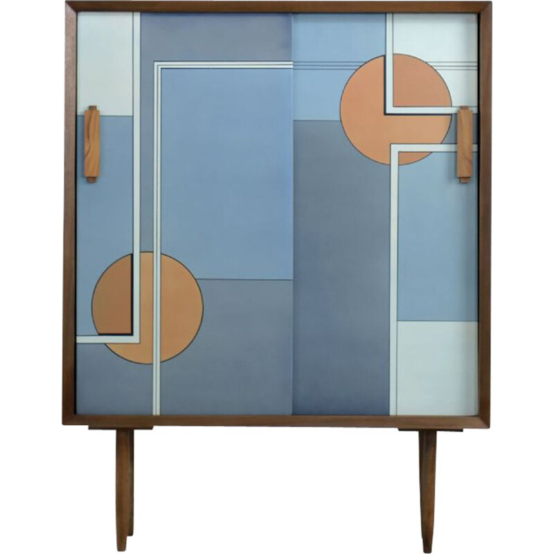 Modern vintage high cabinet with sliding doors and hand painted, Scandinavian 1960
