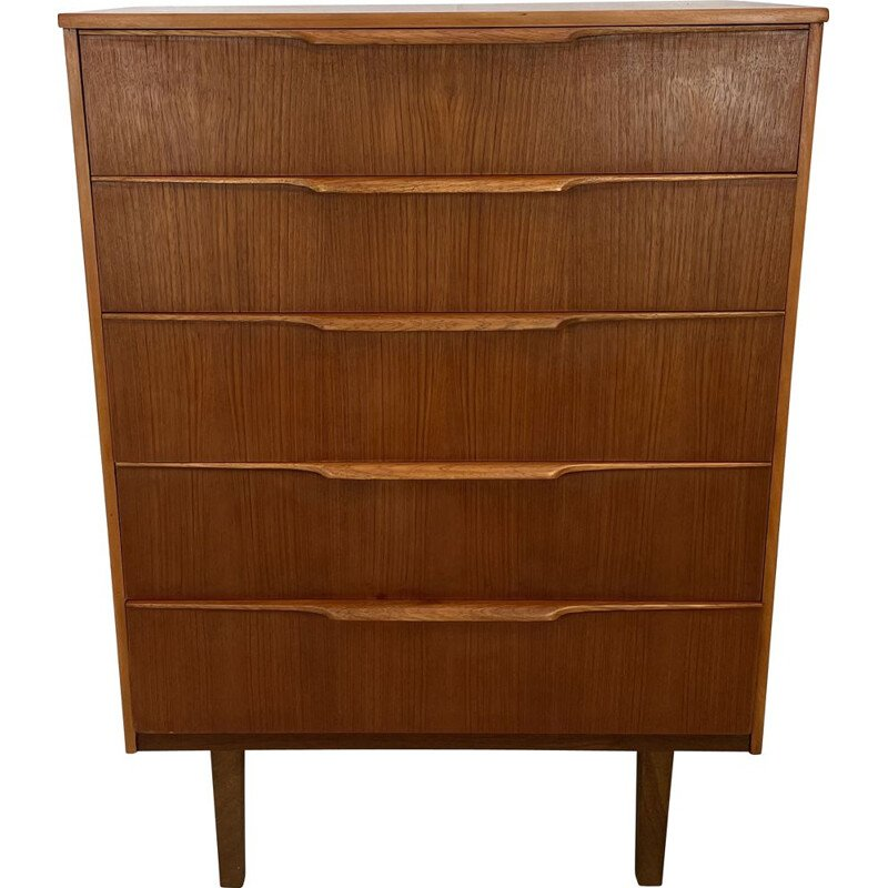 Vintage teak chest of drawers with 5 drawers by Frank Guille for Austinsuite London, England 1960s