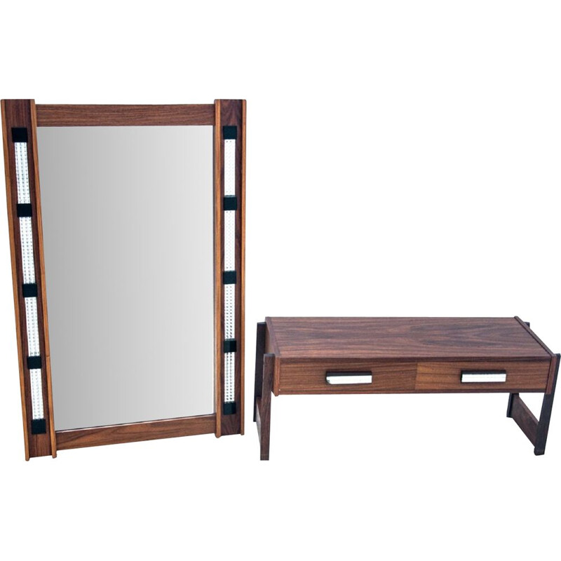 Set of vintage chest of drawers and mirror, Denmark 1960s