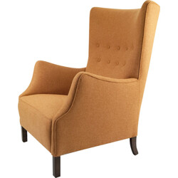 Danish wing back chair in beechwood and orange fabric - 1940s