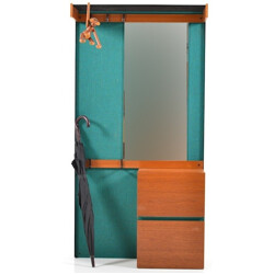Mid-century teak wardrobe in turquoise fabric with mirror - 1960s