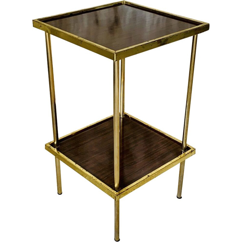Mid century formica and brass side table with two shelves, 1973s