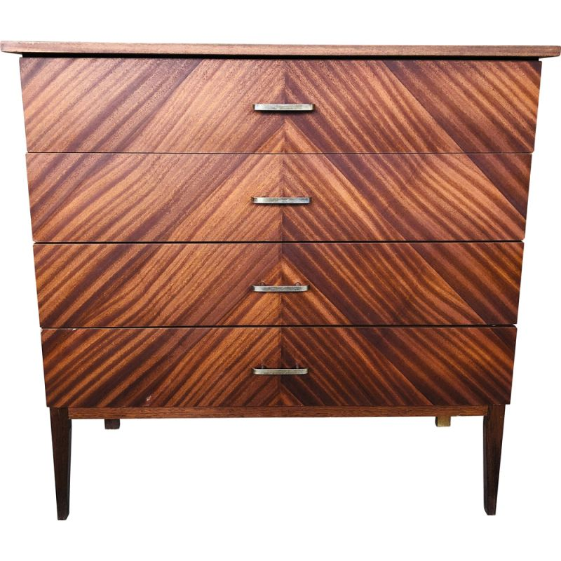 Vintage chest of drawers with 4-drawers and a veneer finish, 1960-1970