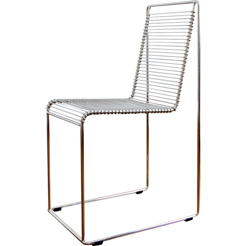 Vintage chair in chromed steel wire by Till Behrens for Schlubach, Germany 1980