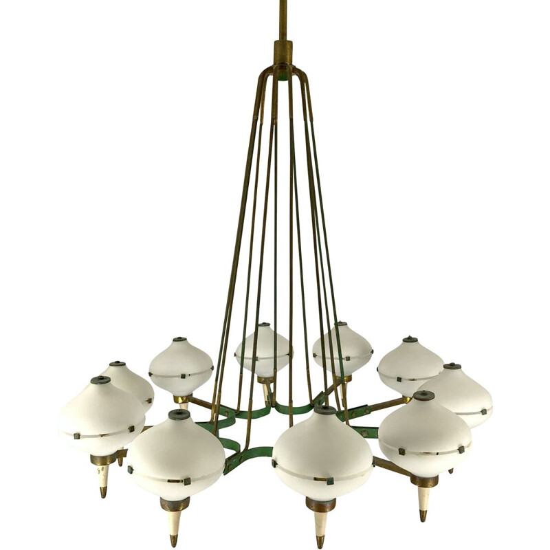 Vintage brass and opal glass chandelier with 10 arms by Stilnovo, Italy 1950