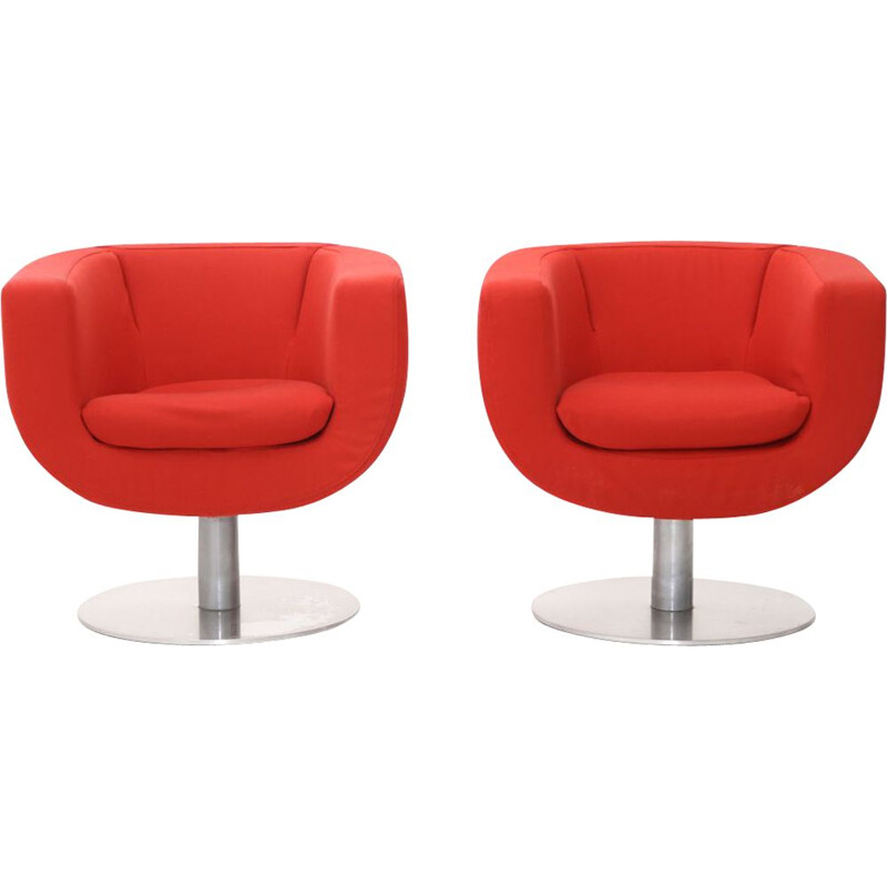 """Pair of vintage """"Tulip"""" armchairs in red fabric by Jeffrey Bernett for B&B Italia, 2000s"""