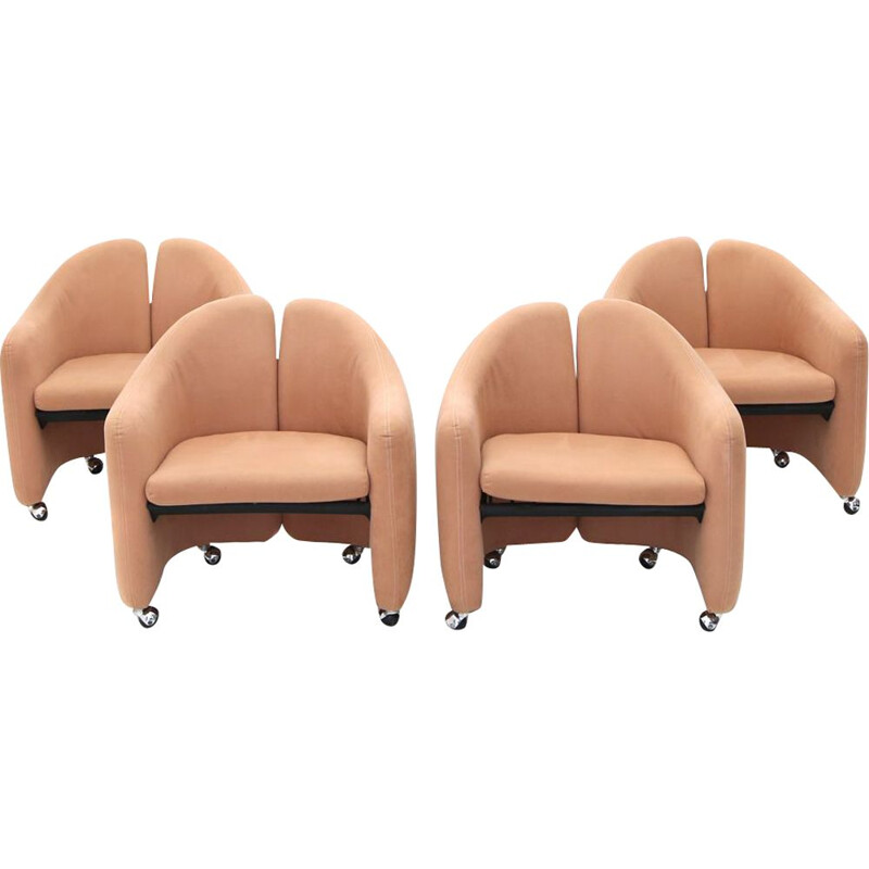 Set of 4 vintage armchairs PS 142 by Gerli for Tecno, 1960