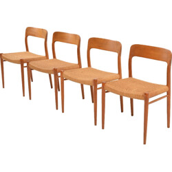 "Set of 4 J.L. Møllers Møbelfabrik ""no.75"" dining chairs, Niels O. MOLLER - 1960s"