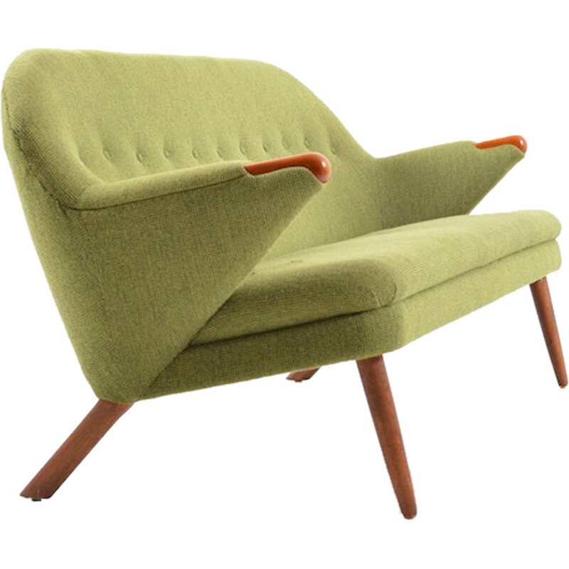 Danish Vejen Polstermøbelfabrik 3-seater sofa in pistache green fabric, Georg THAMS - 1950s