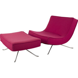 "Pink Ligne Roset ""Pop"" lounge chair with ottoman in fabric, Christian WERNER - 1990s"