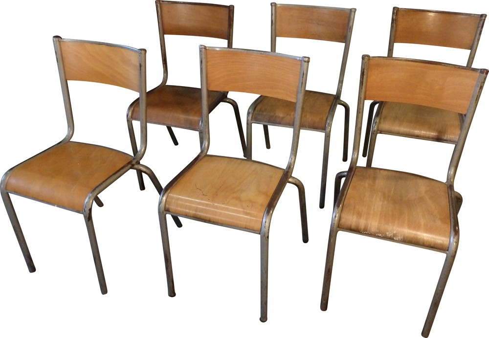 set of 6 mullca school chairs in metal and wood 1950s design market