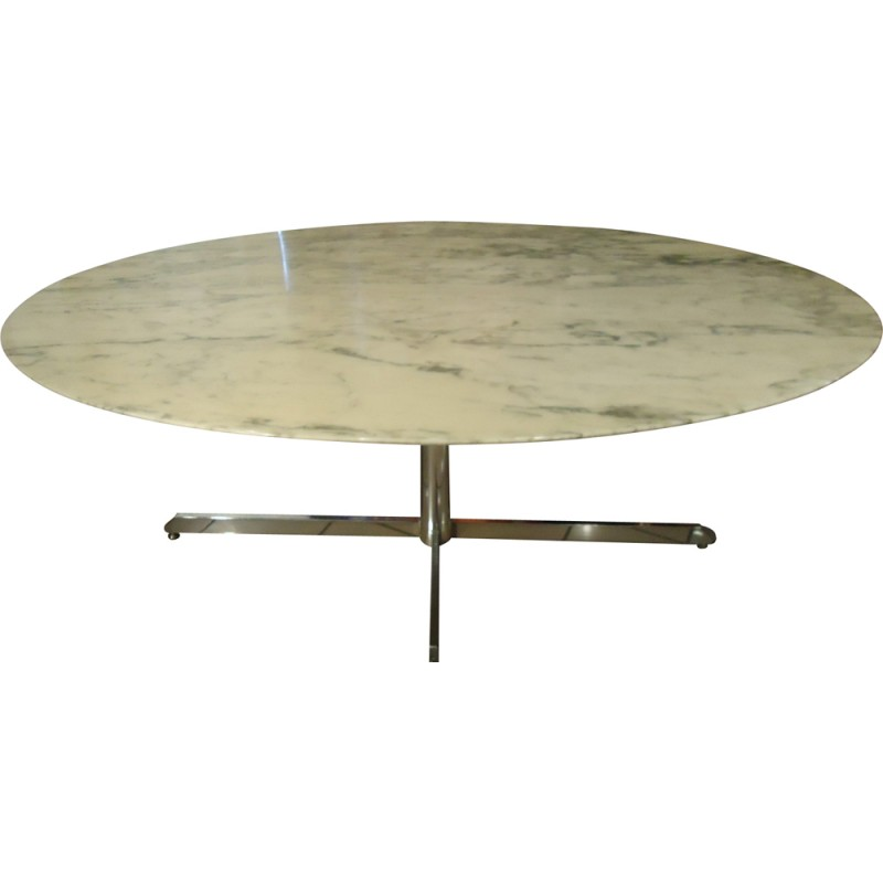 french roche bobois table in marble and chromed metal 1970s