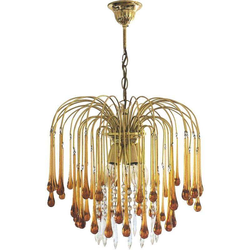 Vintage Murano glass chandelier in the shape of drops, 1970