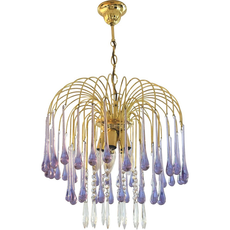 Vintage Murano glass chandelier in the shape of drops, 1970s