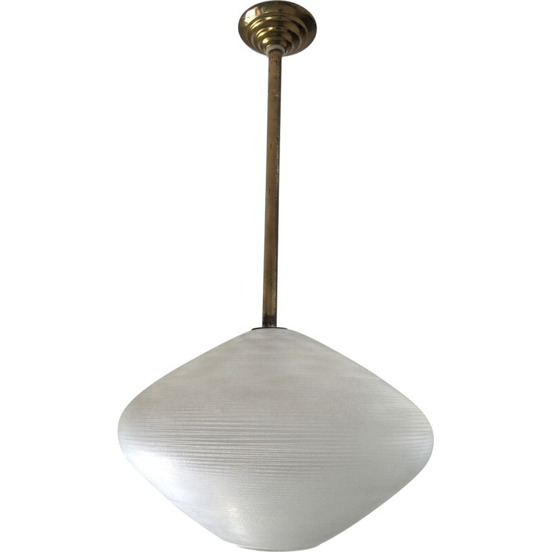 Vintage frosted glass pendant lamp, 1950s