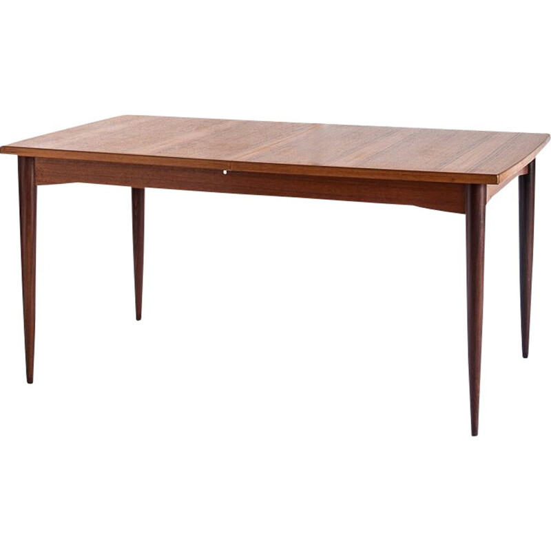 Scandinavian style vintage dining table with central extension in teak, France 1960s